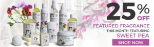 25% Off Sugar and Spice Bath and Body Care Sweet Pea Natural Products made in Canada Maple Ridge BC Banner