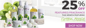 25% Off Sugar and Spice Bath and Body Care Green Apple Natural Products made in Canada Maple Ridge BC Banner