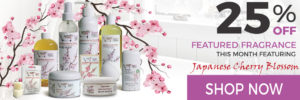 25% Off Sugar and Spice Bath and Body Care Japanese Cherry Blossom Natural Products made in Canada Maple Ridge BC Banner