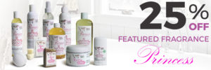 25% Off Sugar and Spice Bath and Body Care Princess Natural Products made in Canada Maple Ridge BC Banner